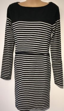 JOJO MAMAN BEBE BLACK BRETON STRIPE JERSEY DRESS SIZE S UK 10